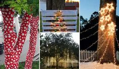 Foto-Christmas Decorating Ideas For Outdoor Trees Best Outdoor Christmas Decorations, Outdoor Christmas Tree Decorations, Hanging Christmas Lights, Christmas Tree Tops, Alternative Christmas Tree, Christmas Hacks, Christmas Porch, Backyard Trees, Outdoor Trees