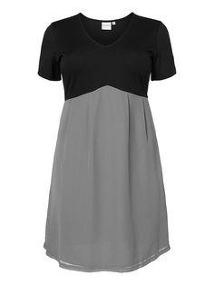 JUNAROSE Kleid, V-Ausschnitt, Kurze Ärmel, Oberseite aus Jersey, Gewebter Abschluss, Formgebende Passform, Die Vorderlänge in Größe M beträgt 98 cm (von der oberen Schulter bis zum Abschluss), Styling-Tipp: Für einen Sommer-Look trage dieses Kleid mit ein Paar Sandalen ,   100% Polyester...