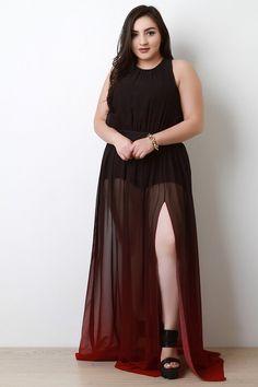 Dip Dye Chiffon Maxi Dress