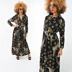 vintage 70s black LEOPARD maxi NOVELTY print dress size L by PasseNouveauVintage, $39.00