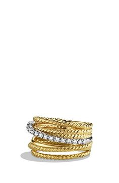 Free shipping and returns on David Yurman 'DY Crossover' Ring with Diamonds in Gold at Nordstrom.com. 18-karat yellow gold. Pavé diamonds, 0.18 total carat weight. 11mm wide. By David Yurman; imported.
