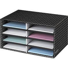 Staples - Bankers Box® Decorative Letter-Size 8-Compartment Literature Sorter, Plaid