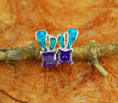 Amethyst Center Stone and Opal Stud Earrings  by Silvershowroom