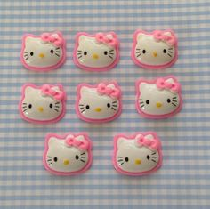 Pink Edge Kitty Face with pink bow resin flatback by KawaiiWhimsy, $3.50