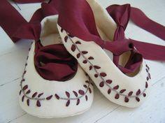 Items similar to Organic Baby Shoes, Baby Ballet Shoes, Burgundy Silk, Jane Austen Ballet Slipper, Bobka Shoes by BobkaBaby on Etsy Baby Ballet Shoes, Felt Baby Shoes, Cute Baby Shoes, Baby Boy Shoes, Baby Pants, Kid Shoes, Girls Shoes, Felt Booties, Flower Girl Shoes