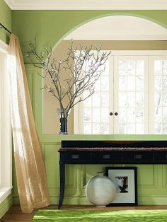 I like looking from room to room and seeing different colors.  I would have painted the wainscotting white.