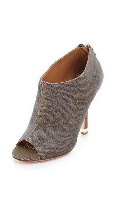 Badgley Mischka Mysti Peep Toe Booties - with a sweater dress and tights
