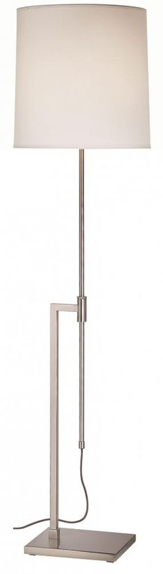 """$400.00 - Sonneman one light floor lamp. This lamp is a 3-way that can adjust from 47""""-69"""". Has a beautiful Nickel finish and an off-white shade."""
