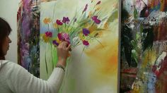 Abstract floral painting Demo time lapse - give ppl an idea how to turn smudges or seeming mistakes into ambiance. Acryl.