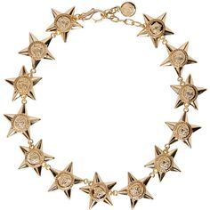 Versace Gold Medusa Stars Necklace (14 825 UAH) ❤ liked on Polyvore featuring jewelry, necklaces, handcrafted jewelry, gold tone chain link necklace, adjustable gold necklace, carved necklace and gold disc necklace