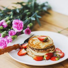 1. Three Ingredient Pancakes: Mix one banana, one egg, and two tablespoons of buckwheat flour in a bowl, and spoon into a fry pan to cook. Serve with strawberries and a squeeze of lemon.