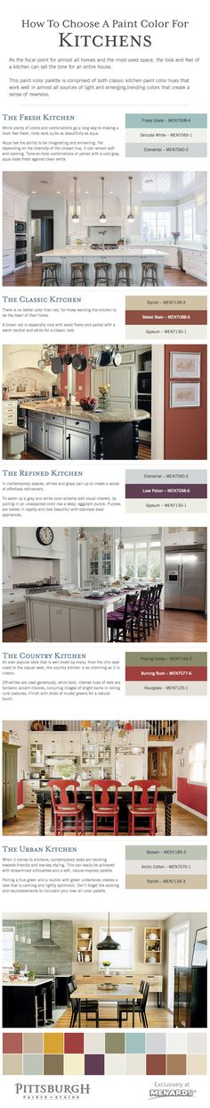 How To Choose A Paint Color For A Kitchen Tips. As the focal point for almost all homes and the most-used space, the look and feel of a kitchen can set the tone for an entire house. Browse these Kitchen Paint Color Schemes for inspiration from Pittsburgh Paints & Stains® at Menards®.