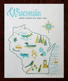 Wisconsin State Letterpress Print 8x10 by paperparasolpress, $27.00 #Wisconsin #letterpress #paperparasolpress