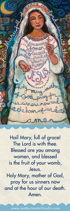 A collection of pin-able catholic artwork featuring saints and prayers by Catholic folk artist Jen Norton Catholic Crafts, Catholic Prayers, Catholic Art, Catholic Saints, Roman Catholic, Religious Art, Religious Images, Holy Mary, Madonna