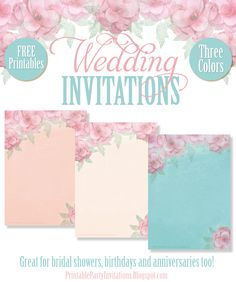 FREE Printable Wedding and All Occasion Invitations