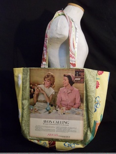 Avon at its most reTro!  ORIGINAL magazine advertisement reDesigned into a reTroToTe!  99% reCycled-reUsed-rePurposed... 100% reDesigned & reTro!  All hand designed and hand sewn.  $50.00 each.