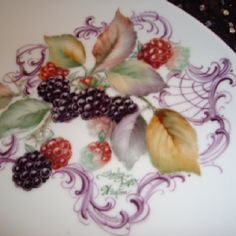 Blackberries and scrolls on porcelain, Shirley Dyer Weston