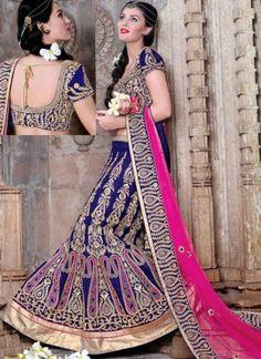 3c859f08bdcc23 Fabulous Blue Pink Zardosi Work Mysore Silk Wedding Lehenga Choli   LehengaCholi  Wedding http