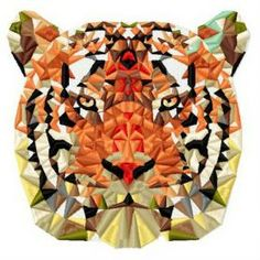 Mosaic tiger 5 machine embroidery design. Machine embroidery design. www.embroideres.com