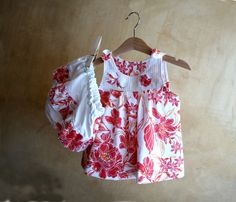 SET-Baby Girl Clothes-Cotton orange flowers Dress & Diaper Cover-Tunic and Bloomers-Newborn Clothes-Infant-Toddler-Flower Girl