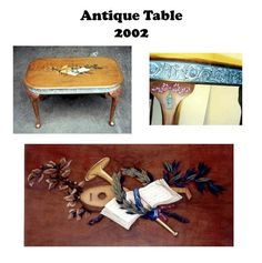 Queen Anne style antique table with a music design painted in acrylic paint