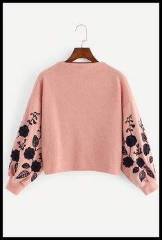 To find out about the Drop Shoulder Embroidery Crop Pullover at SHEIN, part of our latest Sweatshirts ready to shop online today! Girls Fashion Clothes, Teen Fashion Outfits, Girl Outfits, Clothes For Women, Crop Top Outfits, Cute Casual Outfits, Stylish Outfits, Crop Pullover, Jackett