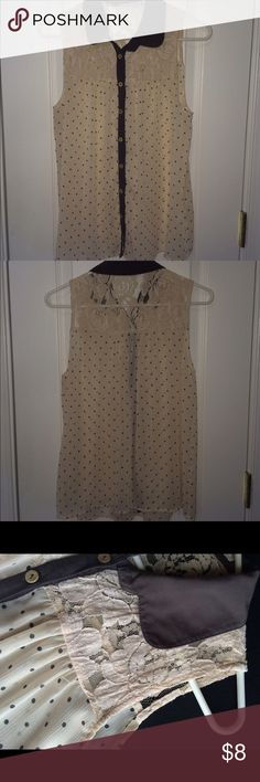 Sleeveless lace/polka dot shirt collared sleeveless shirt has lace and polka dots all over! can be worn cute with anything, white Tops Button Down Shirts