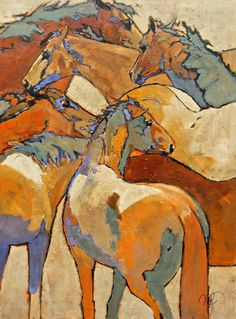 """""Caballos Chaos"" by Peggy Judy. Perfect mix of western flare and Animal Sculptures, Sculpture Art, Horse Artwork, Horse Paintings, Pastel Paintings, Abstract Animals, Historical Art, Equine Art, Art And Illustration"
