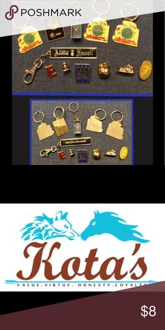 Keychain And Pin Bundle Set Keychain/Collectible Pins. This set includes 12 lovely pieces in Good-Like New condition. I do Bundle and offer a discount for doing so. Thank you for considering my item for your next purchase.  #KotasHQ  It's my pleasure to provide a card and gift wrapping free of charge! I just ask that you provide occasion and message. Kota's has you covered! Accessories