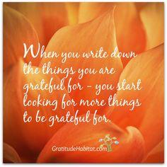 Write down what you are grateful for and you'll find more and more to be grateful for. Visit us at: www.GratitudeHabitat.com #grateful #gratitude