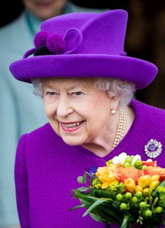 Queen Elizabeth II visits the King George VI Day Center on April 12, 2018, in Windsor, England. The Queen toured the facility and met some of the local residents who use it.