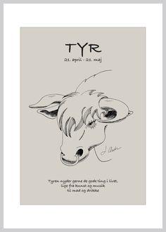 Kort med stjernetegnet tyren fra Ping Pong Posters – køb her! Daily Quotes, Taurus, Life Lessons, Astrology, Zodiac Signs, Novels, Inspirational Quotes, Graphic Design, Humor