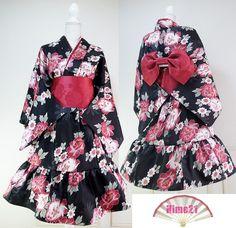 Japanese Cosplay Japanese Kimono Dress Jacket Flower black Dress Cosplay by - Maid Outfit, Maid Dress, Japanese Outfits, Japanese Fashion, Japanese Style, Japanese Kimono Dress, Dress Drawing, China Fashion, Lolita Fashion