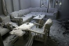 Abandoned ash filled living-room from the eruption of Mt Merapi