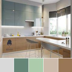 Minimal Kitchen Design, Kitchen Room Design, Studio Kitchen, Minimalist Kitchen, Home Decor Kitchen, Interior Design Kitchen, Home Kitchens, Green Kitchen, Kitchen Colors