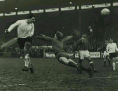 Bedford Town 0 Everton 3 in Feb 1966. Fred Pickering heads a goal at Bedford in the FA Cup 4th Round.