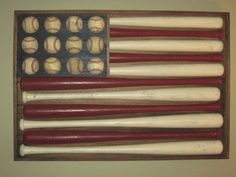 """Another baseball flag. If you wanted to save money and you had the tools, you could put the bats through a table saw and cut them in half to give you more bang for less """"buck"""". man-cave-ideas-diy or little boys bedroom! Baseball Flag, Baseball Stuff, Baseball Display, Just In Case, Just For You, Do It Yourself Inspiration, Do It Yourself Home, My New Room, Boy Room"""