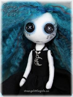 Gothic cloth art doll with button eyes small  Luna Night