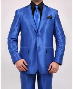 17d6bee0eee Men s 2 Button Single Breasted Shiny Sharkskin Oxford Fitted Royal Blue Suit