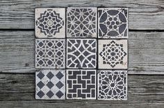 moroccan tile design custom Stone coasters set of 6 by theends, $30.00