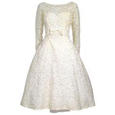 1960's Tea Length Long Sleeves Sweetheart Lace Wedding Dress