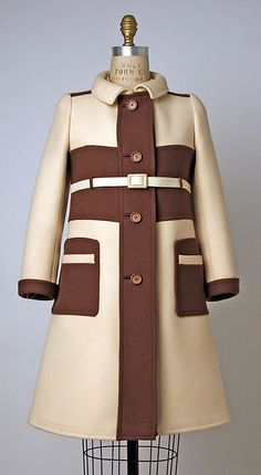 1967 André Courrèges ensemble, wool, leather.  Has a dress underneath the coat.  (see other pin)