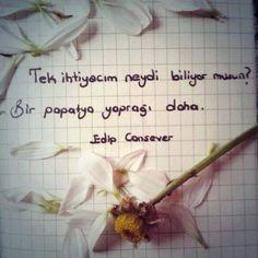 Tek ihtiyacım neydi biliyor musun? Bir papatya yaprağı daha.  www.love.gen.tr #aşk #sevgi