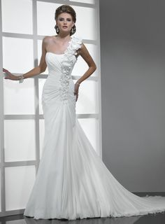 One shoulder A-line ruffle chiffon bridal gown
