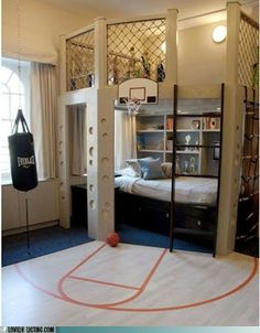 A kid's bedroom for the basketball fan...lots of great ideas here...