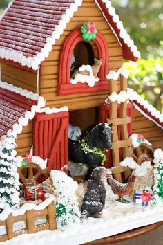 Don't trust your baking skills? This cute gingerbread barn is ready to buy, and can be personalized with your family's names. See more at Solvang Bakery.