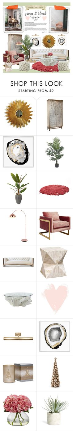 """Color Challenge: Green and Blush"" by gabree ❤ liked on Polyvore featuring interior, interiors, interior design, home, home decor, interior decorating, John-Richard, Natural Curiosities, WALL and Nearly Natural"