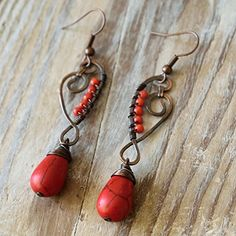 Coral Copper EarringsHammered wire earrings oxidized by hand one of a kind earrings *** Want to know more, click on the image.-It is an affiliate link to Amazon.