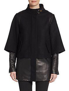 Kisa Wool & Leather Jacket - SaksOff5th