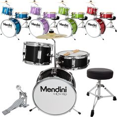 Mendini 13 3 Pieces Junior Kids Child Drum Set Kit Black Blue Green